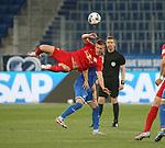 Dennis Geiger (TSG 1899 Hoffenheim) und Dani Olmo (RB Leipzig)<br /> <br /> Sport: Fussball: LIGA: Saison 19/20: TSG 1899 <br /> Hoffenheim-RB Leipzig, 12.06.2020.<br /> <br /> Foto: RALF POLLER/AVANTI/POOL/PIX-Sportfotos<br /> <br /> Nur für journalistische Zwecke! Only for editorial use! <br /> Gemäß den Vorgaben der DFL Deutsche Fußball Liga ist es untersagt, in dem Stadion und/oder vom Spiel angefertigte Fotoaufnahmen in Form von Sequenzbildern und/oder videoähnlichen Fotostrecken zu verwerten bzw. verwerten zu lassen. DFL regulations prohibit any use of photographs as image sequences and/or quasi-video.