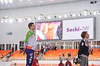 SPEEDSKATING: SOCHI: Adler Arena, 22-03-2013, Essent ISU World Championship Single Distances, Day 2, podium 5000m Men, Sven Kramer (NED), Ivan Skobrev (RUS), © Martin de Jong
