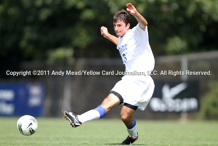04 September 2011: Duke's Daniel Tweed-Kent. The Southern Methodist University Mustangs defeated the Duke University Blue Devils 1-0 in overtime at Koskinen Stadium in Durham, North Carolina in an NCAA Division I Men's Soccer game.