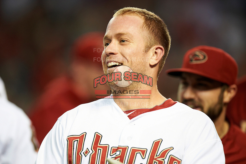Arizona Diamondbacks second baseman Aaron Hill #2 smiles after hitting a walk off home run during a National League regular season game against the Colorado Rockies at Chase Field on October 3, 2012 in Phoenix, Arizona. Arizona defeated Colorado 5-3. (Mike Janes/Four Seam Images)