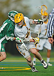 24 April 2012: University of Vermont Catamount Attackman A.J. Masson, a Junior from Newmarket, Ontario, in action against the Dartmouth College Big Green at Virtue Field in Burlington, Vermont. The Catamounts fell to the visiting Big Green 10-5 in Men's Varsity Lacrosse action. Mandatory Credit: Ed Wolfstein Photo