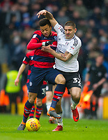QPR Jordan Cousins and Fulham's Aleksandar Mitrovic during the Sky Bet Championship match between Fulham and Queens Park Rangers at Craven Cottage, London, England on 17 March 2018. Photo by Andrew Aleksiejczuk / PRiME Media Images.