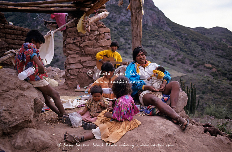 Tarahumaran family at home in the mountains, Chihuahua, Mexico.