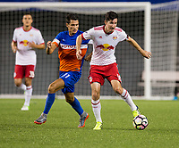 Cincinnati, OH - Tuesday August 15, 2017: Danni Konig, Sacha Kljestan during a 2017 U.S. Open Cup game between FC Cincinnati vs New York Red Bulls at Nippert Stadium.