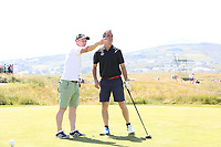 James Nesbitt playing with Lee Westwood (ENG) during the ProAm Day of the 2018 Dubai Duty Free Irish Open, Ballyliffin Golf Club, Ballyliffin, Co Donegal, Ireland.<br /> Picture: Golffile | Jenny Matthews<br /> <br /> <br /> All photo usage must carry mandatory copyright credit (&copy; Golffile | Jenny Matthews)