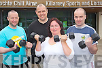 """Lil Doherty, Jim Kissane, Derek Hegarty and Colm Joy, who have four weeks done in the """"Biggest Loser"""" competition in the Killarney Sports and Leisure Centre......................."""