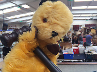 """BNPS.co.uk (01202 558833)<br /> Pic: Hansons/BNPS<br /> <br /> Pictured: The Original Sooty Puppet owned by Harry Corbett with the auctioneers gavel.<br /> <br /> An iconic old Sooty TV puppet which Harry Corbett gave to a friend has emerged for sale for £1,200.<br /> <br /> The children's show inventor Harry Corbett gifted it to biology teacher Paul Mouncey, from Comrie, Perthshire, Scotland, in the mid-1970s.<br /> <br /> His daughter Tina Stewart, a veterinary receptionist from Dunblane, is now selling the hand puppet with Hanson's Auctioneers, of Etwall, Derbys.<br /> <br /> Mrs Stewart, a veterinary receptionist from Dunblane, Scotland, said: """"We took Sooty along with us and after the show met Richard - who immediately new our puppet was an original."""