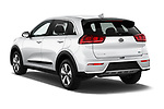 Car pictures of rear three quarter view of 2017 KIA Niro FE 5 Door Hatchback Angular Rear