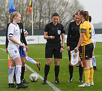 20190406  - Tubize , BELGIUM : referee Angelika Soeder (M) with Belgian Captain Ella Vierendeels (R) and Finland's captain Sanni Ojanen (L) pictured during the soccer match between the women under 19 teams of Belgium and Finland , on the second matchday in group 2 of the UEFA Women Under19 Elite rounds in Tubize , Belgium. Saturday 6 th April 2019 . PHOTO DIRK VUYLSTEKE / Sportpix.be