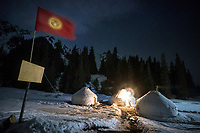 A Kyrgyzstan yurt camp in the Aksuu Valley at night