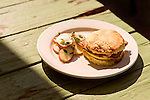 May 8, 2015. Carrboro, North Carolina.<br />  A pastrami and egg biscuit from Neal's Deli.<br />  Outsiders tend to lump Chapel Hill with nearby Durham, but the more sensible pairing is with Carrboro, the adjacent town that was once a mere offshoot known as West End. Even today the transition from Chapel Hill, anchored by North Carolina''s flagship public university, into downtown Carrboro is virtually seamless.