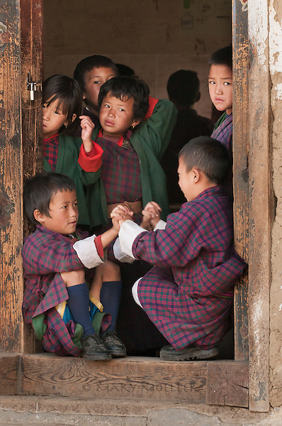 School boys after class dressed in their native garb.<br />
