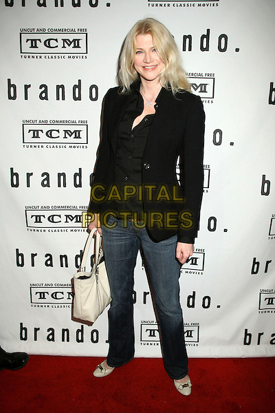 "TRACY TWEED.""Brando"" Los Angeles Premiere at the Egyptian Theatre, Hollywood, California, USA.April 17th, 2007.full length black jacket jeans denim white cream bag purse.CAP/ADM/BP.©Byron Purvis/AdMedia/Capital Pictures"