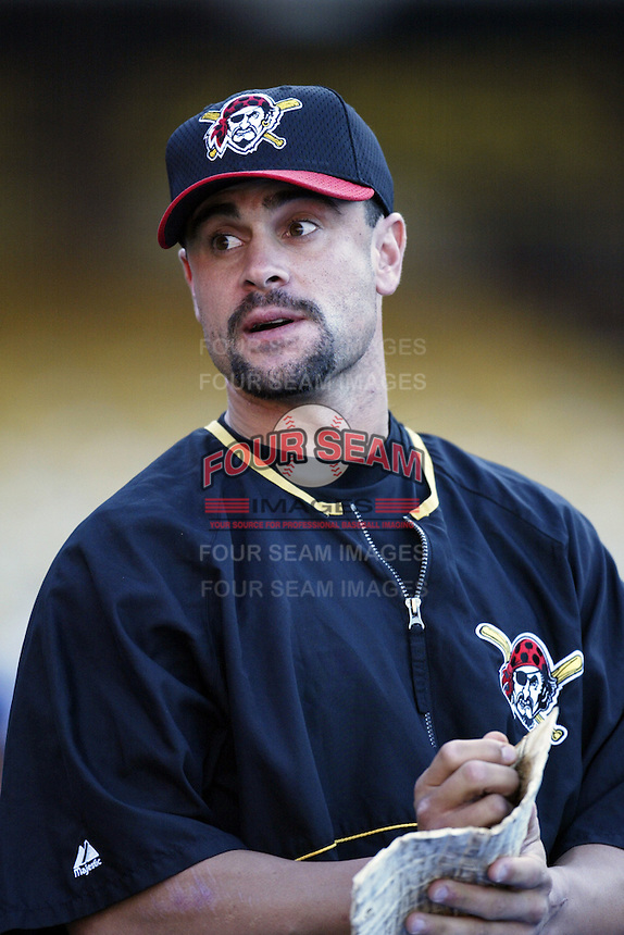 Jason Kendall of the Pittsburgh Pirates before a 2002 MLB season game against the Los Angeles Dodgers at Dodger Stadium, in Los Angeles, California. (Larry Goren/Four Seam Images)