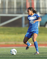 Boston Breakers defender Kia McNeill (14) attempts to control the ball. In a National Women's Soccer League Elite (NWSL) match, the Boston Breakers (blue) defeated Chicago Red Stars (white), 4-1, at Dilboy Stadium on May 4, 2013.