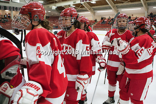 Sarah Steele (BU - 4), Meghan Riggs (BU - 5), Alexis Woloschuk (BU - 10), Lillian Ribeirinha-Braga (BU - 15) - The Harvard University Crimson defeated the visiting Boston University Terriers 3-1 on Friday, November 22, 2013, at Bright-Landry Hockey Center in Cambridge, Massachusetts.