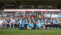 The Stars of the show pose with Wycombe players during The Impractical Jokers (Hit US TV Comedy) filming at Wycombe Wanderers FC at Adams Park, High Wycombe, England on 5 April 2016. Photo by Andy Rowland.