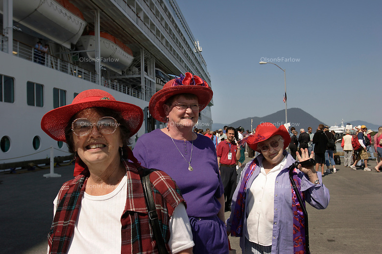 The Red Hats, a club of women who wear hats and meet socially, turn out to greet passengers as they arrive to visit for the day,  One cruise ship arrives in Wrangell once a week and it is a big deal.  Locals turn out to meet and greet selling their wares--fish, rocks, jewelry.