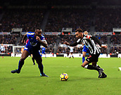 9th December 2017, St James Park, Newcastle upon Tyne, England; EPL Premier League football, Newcastle United versus Leicester City; Jacob Murphy of Newcastle United tries to get past Wes Morgan of Leicester City