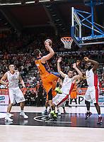 VALENCIA, SPAIN - 05/12/2014. Zirbes, Kalinic y Jenkins del Estrella Roja, Dublejevic del Valencia Basket durante el partido. Pabellon Fuente de San Luis, Valencia, Spain.