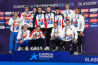 Team GREAT BRITAINGold Medal<br /> PYLENicholas<br /> PEATYAdam<br /> GUYJames<br /> SCOTTDuncan W<br /> Team RUSSIASilver Medal<br /> KOLESNIKOVKliment<br /> CHUPKOVAnton<br /> KUIMOVEgor<br /> MOROZOVVladimir<br /> Team GERMANYBronze Medal<br /> DIENERChristian<br /> SCHWINGENSCHLOEGLFabian<br /> KUSCHMarius<br /> WIERLINGDamian<br /> 4x100m Medley Relay Men<br /> Glasgow 09/08/2018<br /> Swimming Tollcross International Swimming Centre<br /> LEN European Aquatics Championships 2018 <br /> European Championships 2018 <br /> Photo Giorgio Scala/ Deepbluemedia /Insidefoto
