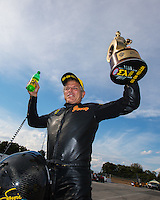 Sep 25, 2016; Madison, IL, USA; NHRA pro stock motorcycle rider Jerry Savoie celebrates after winning the Midwest Nationals at Gateway Motorsports Park. Mandatory Credit: Mark J. Rebilas-USA TODAY Sports