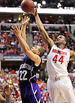 Ohio State forward William Buford (44) blocks the shot of Northwestern's Michael Thompson (22) in the Big Ten Men's Basketball Tournament in Indianapolis, IN on March 11, 2011.  (Photo by Bob Campbell)