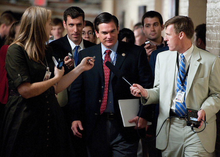UNITED STATES - AUGUST 1: Rep. Austin Scott, R-Ga., leaves the House Republicans' caucus meeting on the debt ceiling increase on Monday, Aug. 1, 2011, in the basement of the Capitol . (Photo By Bill Clark/Roll Call)