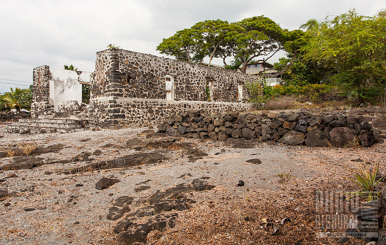 Ruins of the old Helani Church stand amidst the Ohi'amukumuku Heiau in Kailua-Kona, Big Island.