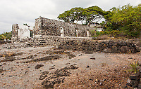 Ruins of the old Helani Church stand amidst the Ohi'amukumuku Heiau in Kailua-Kona, Big Island.