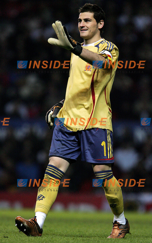 Spain's Iker Casillas smiles during a friendly match at Old Trafford in Manchester, Wednesday February 07, 2007. (INSIDE/ALTERPHOTOS/Alvaro Hernandez).