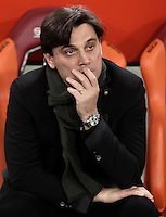 Calcio, Serie A: Roma vs Milan. Roma, stadio Olimpico, 12 dicembre 2016.<br /> Milan coach Vincenzo Montella waits for the start of the Italian Serie A football match between Roma and AC Milan at Rome's Olympic stadium, 12 December 2016.<br /> UPDATE IMAGES PRESS/Isabella Bonotto