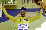 Race leader Julian Alaphilippe (FRA) Deceuninck-Quick Step retains the Yellow Jersey at the end of Stage 11 of the 2019 Tour de France running 167km from Albi to Toulouse, France. 17th July 2019.<br /> Picture: Colin Flockton | Cyclefile<br /> All photos usage must carry mandatory copyright credit (© Cyclefile | Colin Flockton)