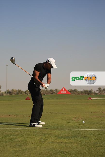 Ahmed Al Musharel (AM) on the driving range after the 2nd round of the Abu Dhabi HSBC Golf Championship, Abu Dhabi GC,Abu Dhabi,United Arab Emirates.Picture Fran Caffrey www.golffile.ie