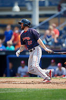 Portland Sea Dogs first baseman Jantzen Witte (22) follows through on a swing during the second game of a doubleheader against the Reading Fightin Phils on May 15, 2018 at FirstEnergy Stadium in Reading, Pennsylvania.  Reading defeated Portland 9-8.  (Mike Janes/Four Seam Images)