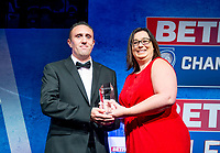 Picture by Allan McKenzie/SWpix.com - 25/09/2018 - Rugby League - Betfred Championship & League 1 Awards Dinner 2018 - The Principal Manchester- Manchester, England - Nicola Hudson presents Ben Moorehouse with Community Champion of the Year award.