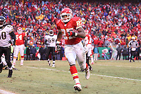 Chiefs running back Larry Johnson runs in a two-yard touchdown during the third quarter against the Jacksonville Jaguars at Arrowhead Stadium in Kansas City, Missouri on December 31, 2006. The Chiefs won 35-30.