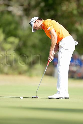 28.02.2016. Perth, Australia. ISPS HANDA Perth International Golf. Brett Rumford (AUS) putts on the 17th green during his last round.