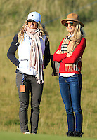 Mrs Lee Westwood and Mrs Ronan Keating at the 10th green during Round 2 of the 2015 Alfred Dunhill Links Championship at Kingsbarns in Scotland on 2/10/15.<br /> Picture: Thos Caffrey | Golffile