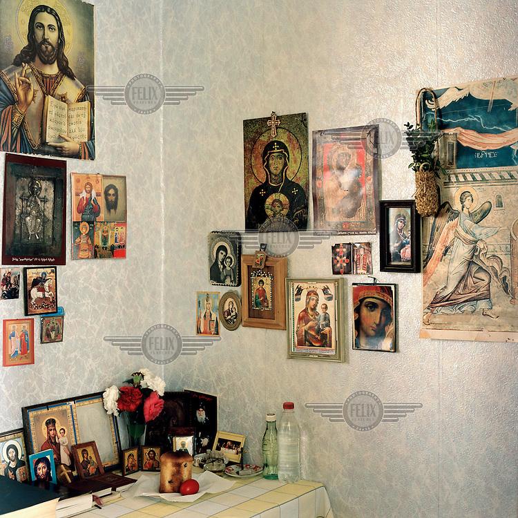 A Christian shrine in the home of a Mingrelian Georgian family in Gali.