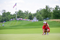 Jin Young Ko (KOR) lines up her putt on 1 during Sunday's final round of the 72nd U.S. Women's Open Championship, at Trump National Golf Club, Bedminster, New Jersey. 7/16/2017.<br /> Picture: Golffile | Ken Murray<br /> <br /> <br /> All photo usage must carry mandatory copyright credit (&copy; Golffile | Ken Murray)