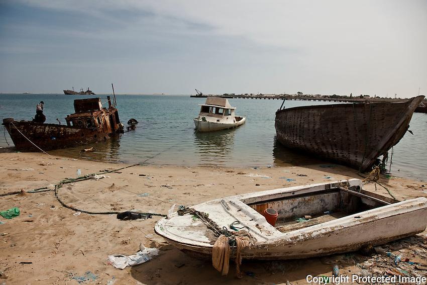 Boats on the shore  in Berbera, Somaliland.