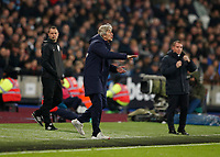 28th December 2019; London Stadium, London, England; English Premier League Football, West Ham United versus Leicester City; West Ham United Manager Manuel Pellegrini shouting at his players from the touchline  - Strictly Editorial Use Only. No use with unauthorized audio, video, data, fixture lists, club/league logos or 'live' services. Online in-match use limited to 120 images, no video emulation. No use in betting, games or single club/league/player publications