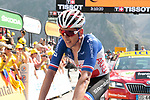 French Champion Warren Barguil (FRA) Arkéa Samsic 9th place crosses the finish line atop the Col du Tourmalet at the end of Stage 14 of the 2019 Tour de France running 117.5km from Tarbes to Tourmalet Bareges, France. 20th July 2019.<br /> Picture: Colin Flockton | Cyclefile<br /> All photos usage must carry mandatory copyright credit (© Cyclefile | Colin Flockton)