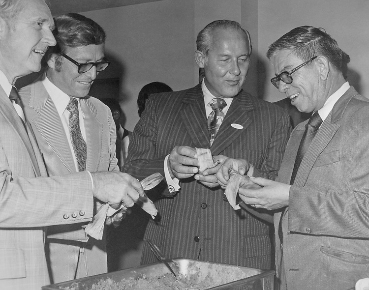 Rep. Larry Winn, R-Kans., Sen. Pete Domenici, R-N.M., Rep. Robert H. Michel, R-Ill., and Rep. Manuel Lujan, R-N.M., eating tamales. (Photo by Mickey Senko/CQ Roll Call via Getty Images)