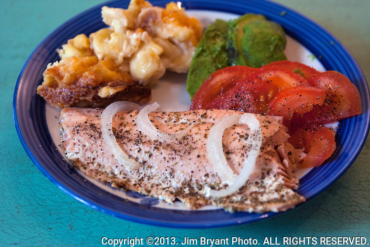 Pacific baked Salmon with Macroni and cheese, broccoli and fresh tomatoes. ©2013. Jim Bryant Photo. ALL RIGHTS RESERVED.