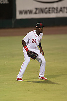 Scottsdale Scorpions left fielder Taylor Trammell (26), of the Cincinnati Reds organization, during an Arizona Fall League game against the Mesa Solar Sox on October 9, 2018 at Scottsdale Stadium in Scottsdale, Arizona. The Solar Sox defeated the Scorpions 4-3. (Zachary Lucy/Four Seam Images)