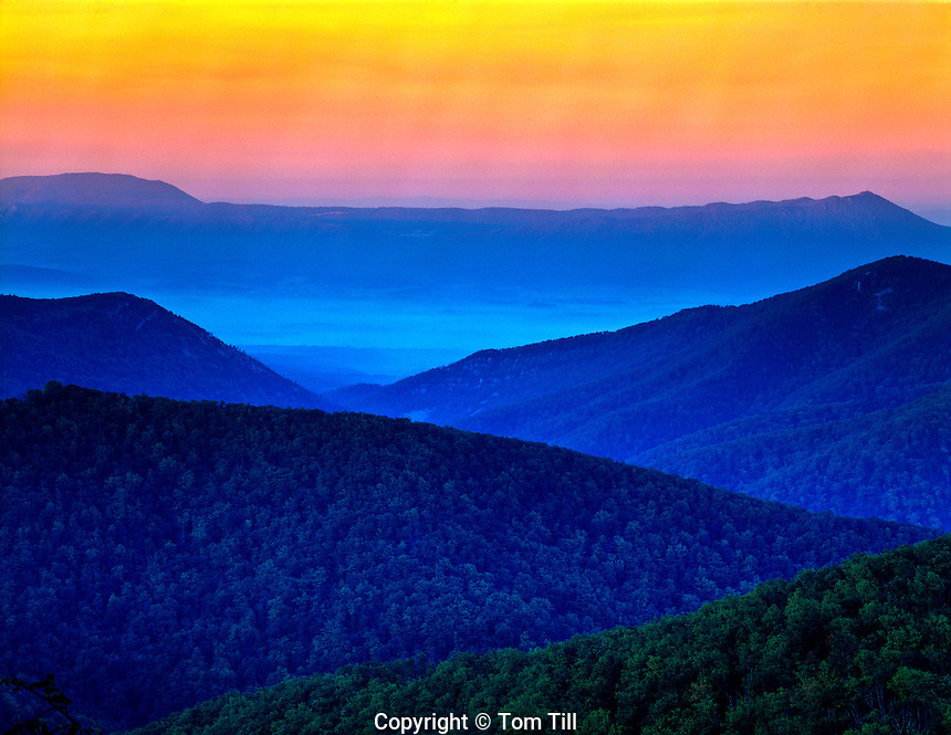 Sunrise colors Shenandoah National Park, Virginia Appalachian Mountains Seen from skyline Drive  Highest in Park  October