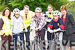 Pupils from Holy Cross NS Killarney who completed the KLSP safety cycling project in the school on Wednesday l-r: Cora Carrigg KLSP Sports Co-ordinator, Mayor Niall O'Callaghan, Marian o'Shea, Garda Damian Jerwyn, Shannon Ahern and Ursulla Coffey Principal   Copyright Kerry's Eye 2008