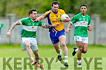 Beaufort's Ronan Murphy  and Na Gaeil's David Culloty and Stefan Okunbor  Castleisland Mart Junior Premier Club Championship Na Gaeil V Beaufort at Na Gaeil GAA Ground on Monday